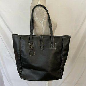 Barrington Black Leather Tote Ritz Carlton Plaid L